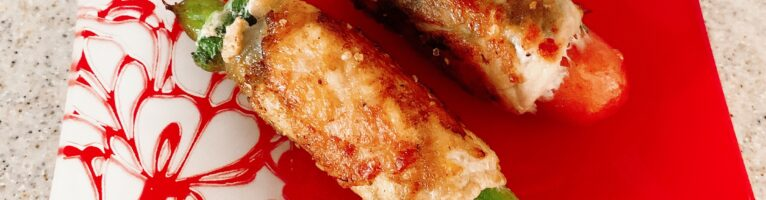 アスパラとウインナーの肉巻き(柚子胡椒、梅肉)
