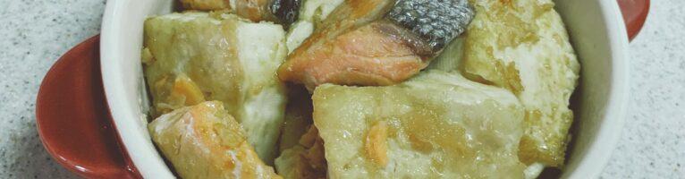 豆腐とシャケの醤油ガーリック